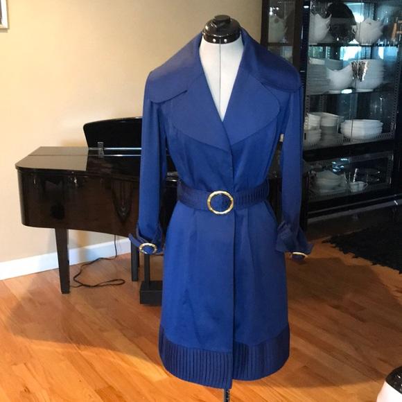 Dialogue Jackets Coats Elisabeth Hasselbeck Navy Blue Pleated